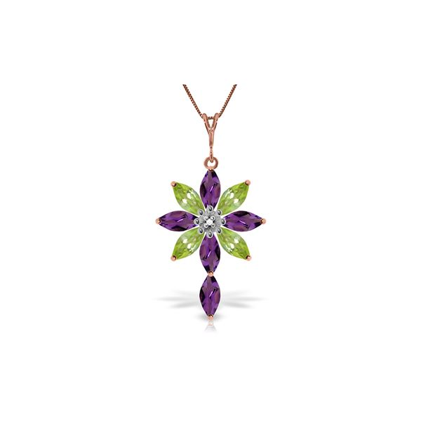 Genuine 2.0 ctw Amethyst, Peridot & Diamond Necklace 14KT Rose Gold - REF-47A4K