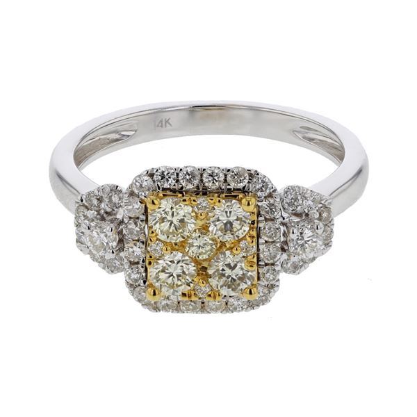 Natural 0.87 CTW Diamond Ring 14K Two Tone Yellow Gold - REF-105R3K