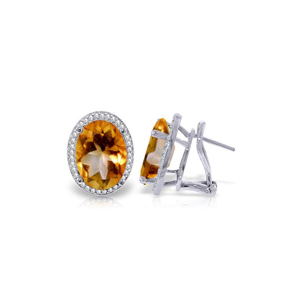 Genuine 9.76 ctw Citrine & Diamond Earrings 14KT White Gold - REF-127X8M