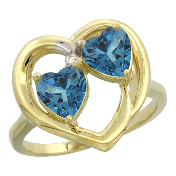 2.60 CTW London Blue Topaz & London Blue Topaz Ring 14K Yellow Gold - REF-34F5N