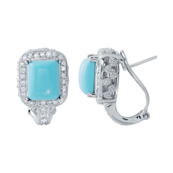 Natural 5.94 CTW Turquoise & Diamond Earrings 14K White Gold - REF-116X3T