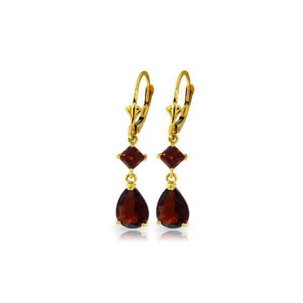 Genuine 4.5 ctw Garnet Earrings 14KT Yellow Gold - REF-41M4T