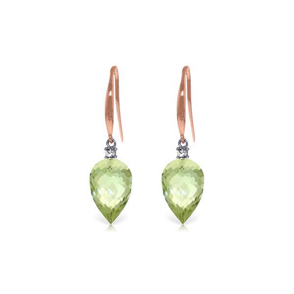 Genuine 19.1 ctw Green Amethyst & Diamond Earrings 14KT Rose Gold - REF-41W3Y