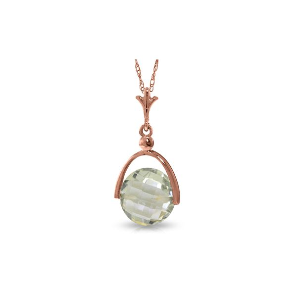 Genuine 3.25 ctw Green Amethyst Necklace 14KT Rose Gold - REF-22R3P