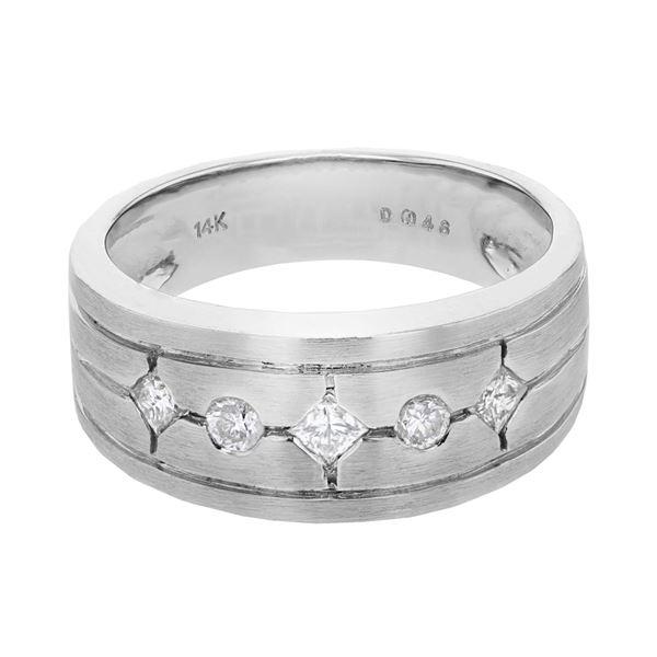 Natural 0.46 CTW Princess Diamond Ring 14K White Gold - REF-90X2T