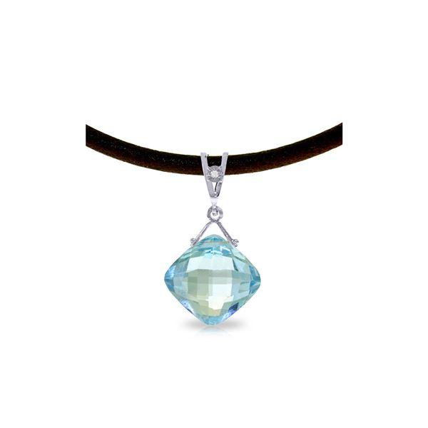 Genuine 8.76 ctw Blue Topaz & Diamond Necklace 14KT White Gold - REF-30F6Z