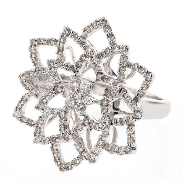 Natural 1.17 CTW Diamond Ring 14K White Gold - REF-117X9T