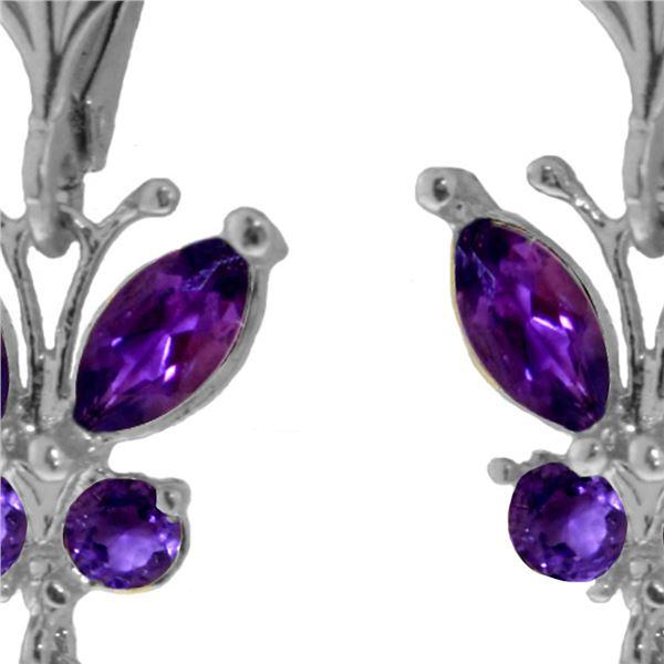 Genuine 2.74 ctw Amethyst Earrings 14KT White Gold - REF-42Z6N