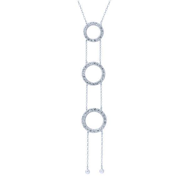 Natural 0.76 CTW Diamond Necklace 14K White Gold - REF-68M4F