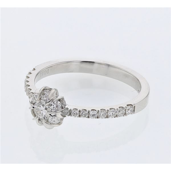 Natural 0.61 CTW Diamond Ring 14K White Gold - REF-105H3W