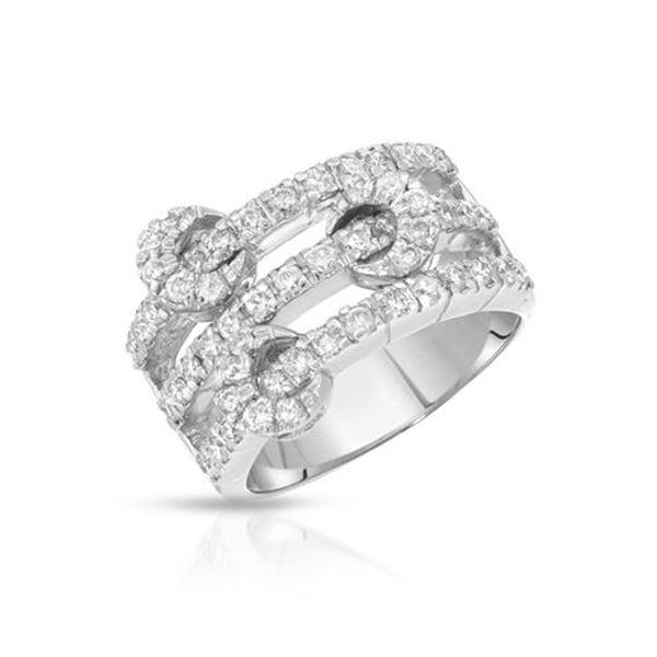 Natural 1.10 CTW Diamond Ring 18K White Gold - REF-196R2K