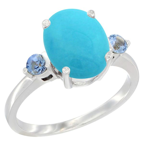 2.64 CTW Turquoise & Blue Sapphire Ring 10K White Gold - REF-30W5F