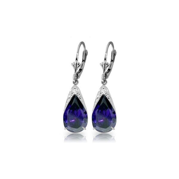 Genuine 9.3 ctw Sapphire Earrings 14KT White Gold - REF-87Z3N
