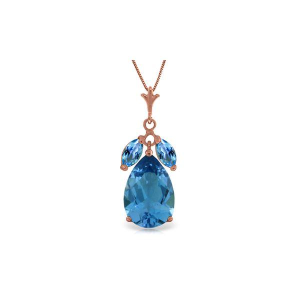 Genuine 6.5 ctw Blue Topaz Necklace 14KT Rose Gold - REF-38M2T
