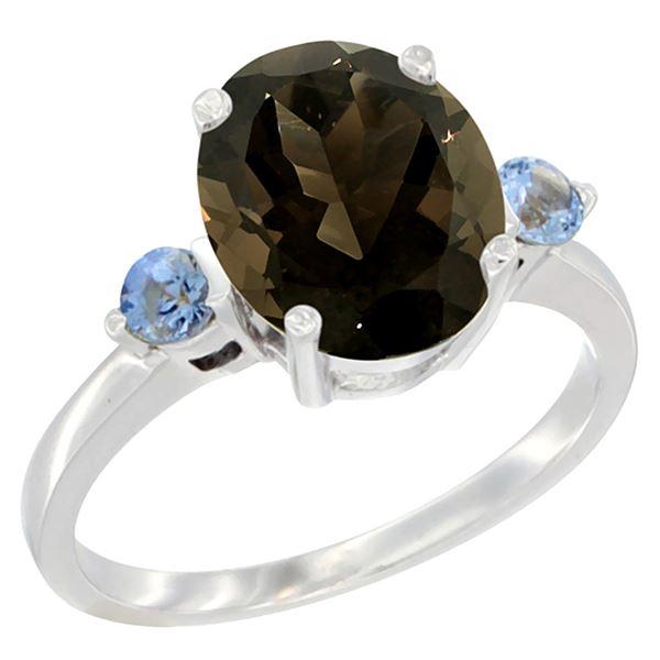 2.64 CTW Quartz & Blue Sapphire Ring 14K White Gold - REF-32M3K