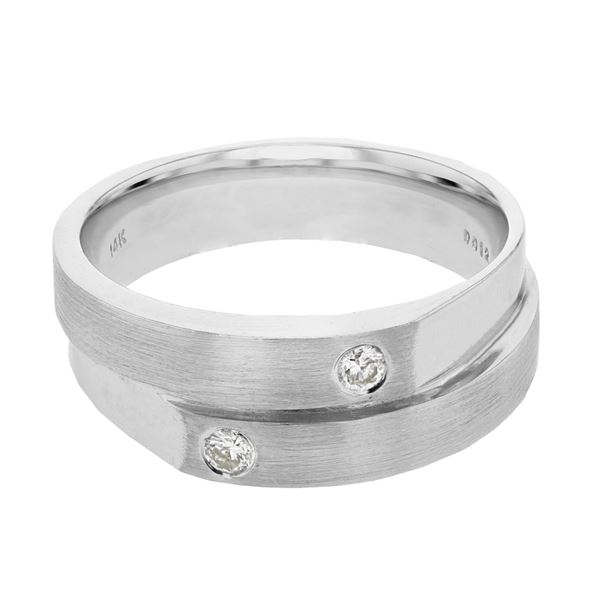 Natural 0.13 CTW Diamond Ring 14K White Gold - REF-72M2F