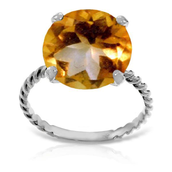 Genuine 5.5 ctw Citrine Ring 14KT White Gold - REF-37R2P