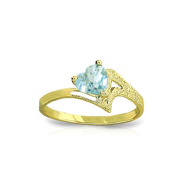 Genuine 0.95 ctw Aquamarine Ring 14KT Yellow Gold - REF-39H3X