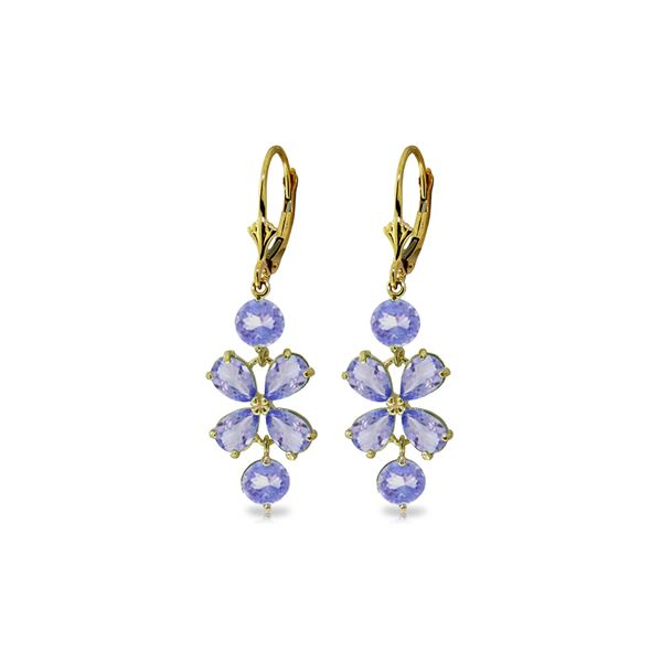 Genuine 5.32 ctw Tanzanite Earrings 14KT Yellow Gold - REF-75Y2F