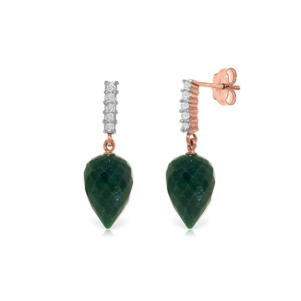 Genuine 25.95 ctw Green Sapphire Corundum & Diamond Earrings 14KT Rose Gold - REF-51X2M
