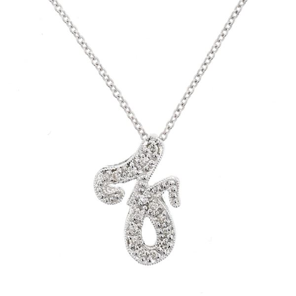Natural 0.08 CTW Diamond Necklace 14K White Gold - REF-23X4T