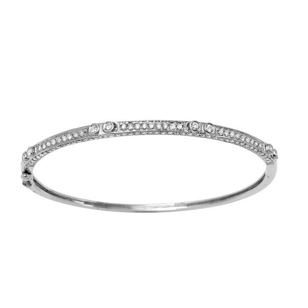 Natural 1.95 CTW Diamond Bracelet 14K White Gold - REF-150R3K