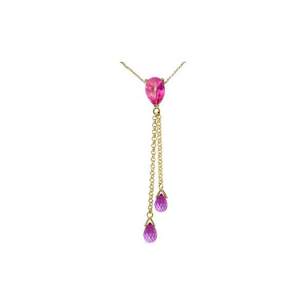 Genuine 3.75 ctw Pink Topaz Necklace 14KT White Gold - REF-23M5T