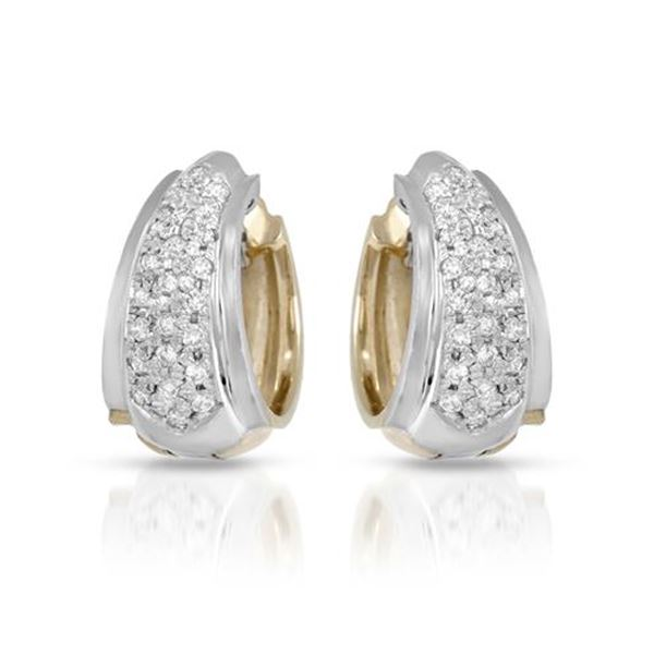 Natural 0.66 CTW Diamond Earrings 14K White Gold - REF-113R4K