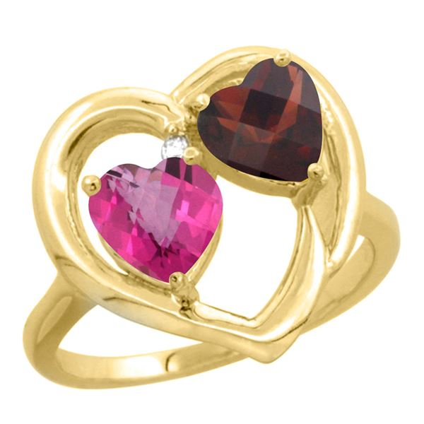 2.61 CTW Diamond, Pink Topaz & Garnet Ring 14K Yellow Gold - REF-33V9R