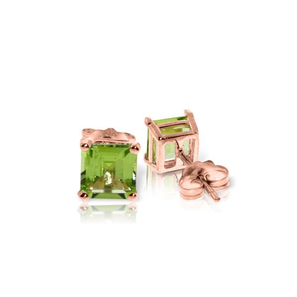 Genuine 1.75 ctw Peridot Earrings 14KT Rose Gold - REF-24Z3N