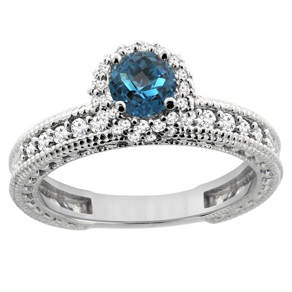0.91 CTW London Blue Topaz & Diamond Ring 14K White Gold - REF-66R2H