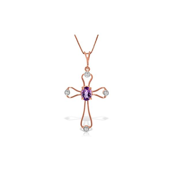 Genuine 0.57 ctw Amethyst & Diamond Necklace 14KT Rose Gold - REF-40P8H