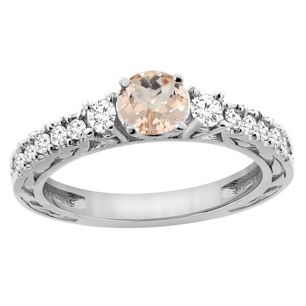 1.05 CTW Morganite & Diamond Ring 14K White Gold - REF-82M3K
