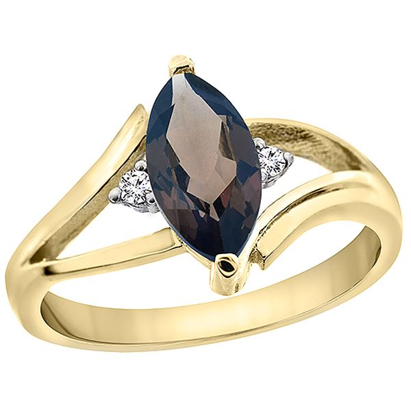 1.24 CTW Quartz & Diamond Ring 10K Yellow Gold - REF-23R3H