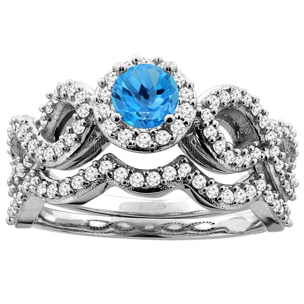 1.06 CTW Swiss Blue Topaz & Diamond Ring 14K White Gold - REF-93K3W
