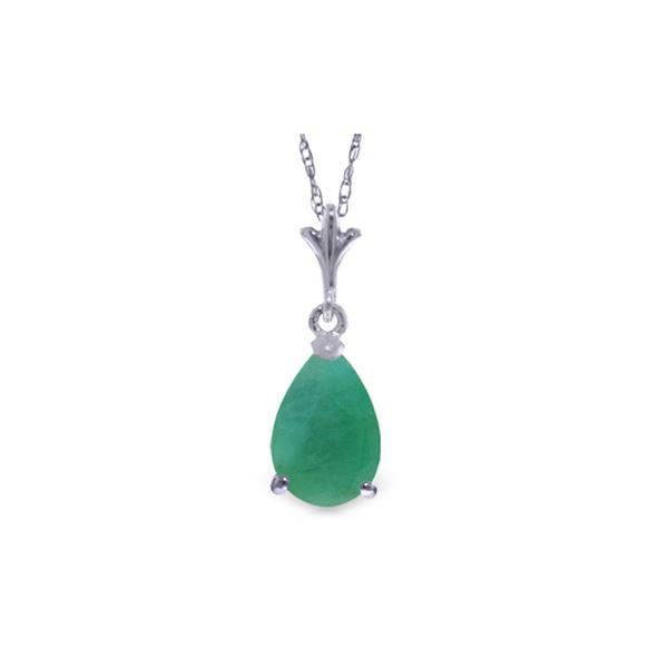 Genuine 1 ctw Emerald Necklace 14KT White Gold - REF-24R5P