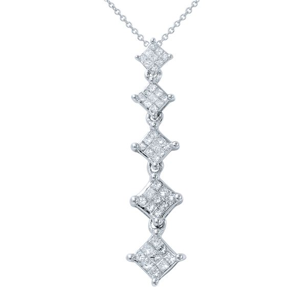 Natural 0.50 CTW Princess Diamond Necklace 14K Gold - REF-78H3W