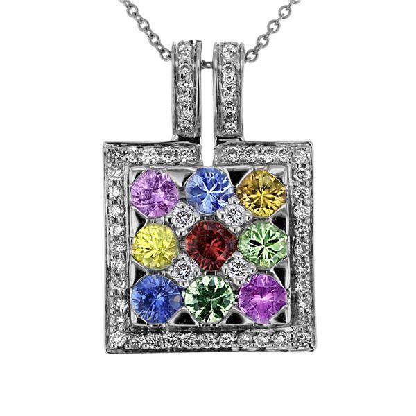 Natural 2.92 CTW Multi-Sapphire & Diamond Necklace 18K White Gold - REF-101H7W