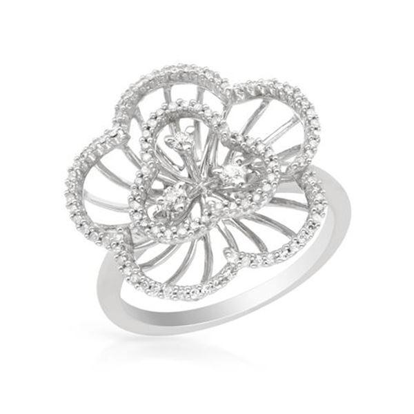 Natural 0.42 CTW Diamond Ring 14K White Gold - REF-59X4T