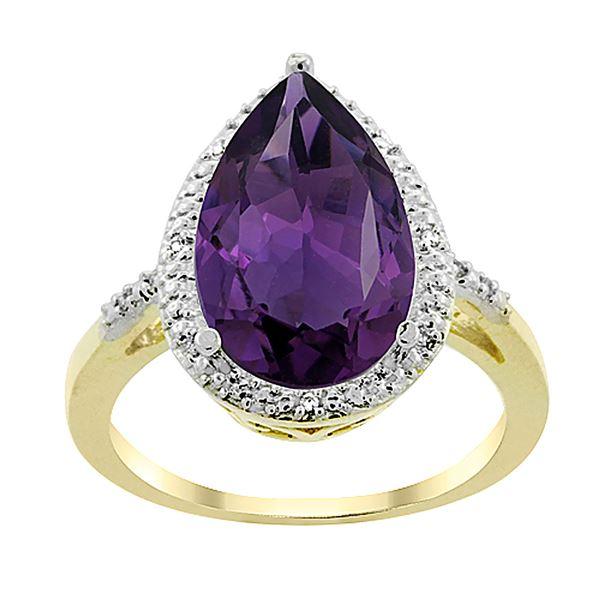 5.55 CTW Amethyst & Diamond Ring 10K Yellow Gold - REF-34X8M