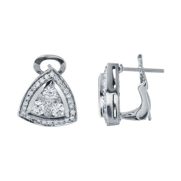 Natural 1.50 CTW Diamond Earrings 14K White Gold - REF-240X3T