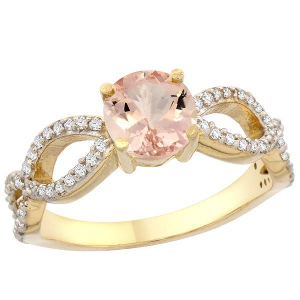 0.95 CTW Morganite & Diamond Ring 10K Yellow Gold - REF-53V3R