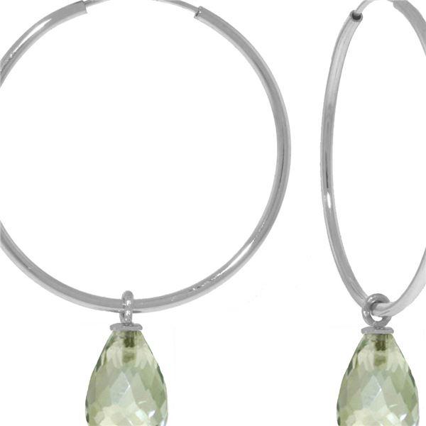 Genuine 4.5 ctw Green Amethyst Earrings 14KT White Gold - REF-26R2P