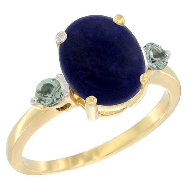 2.74 CTW Lapis Lazuli & Green Sapphire Ring 14K Yellow Gold - REF-30F2N