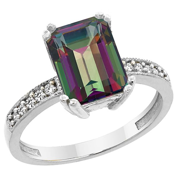 3.70 CTW Mystic Topaz & Diamond Ring 10K White Gold - REF-32V2R
