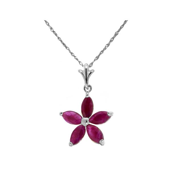 Genuine 1.40 ctw Ruby Necklace 14KT White Gold - REF-30V7W