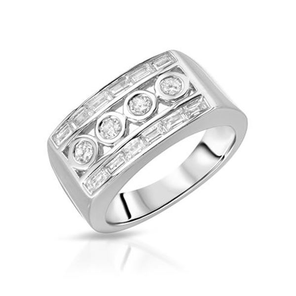 Natural 0.77 CTW Baguette & Diamond Ring 18K White Gold - REF-151X2T
