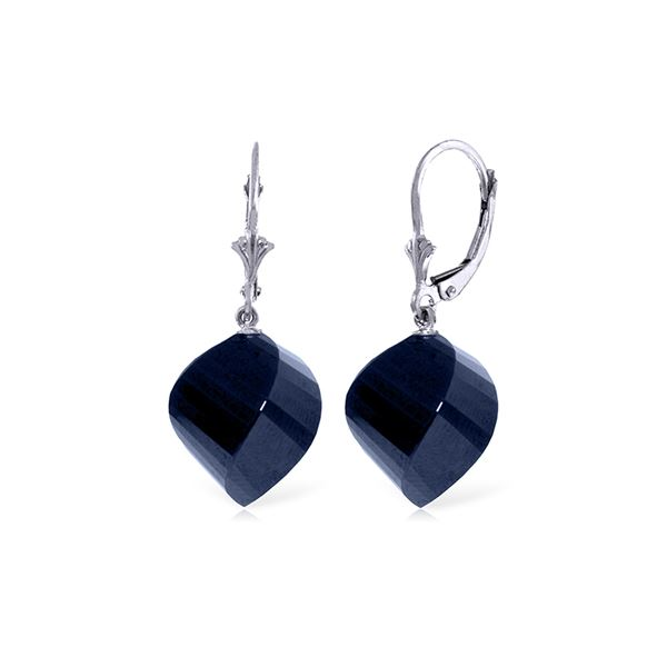 Genuine 30.5 ctw Sapphire Earrings 14KT White Gold - REF-44M4T