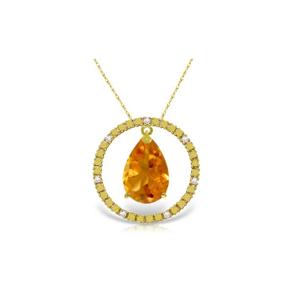 Genuine 6.6 ctw Citrine & Diamond Necklace 14KT Yellow Gold - REF-52W9Y