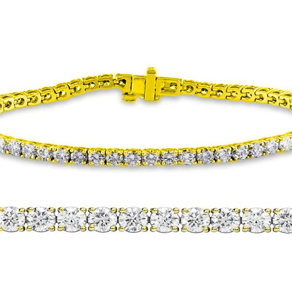 Natural 3.02ct VS2-SI1 Diamond Tennis Bracelet 14K Yellow Gold - REF-200Y5M